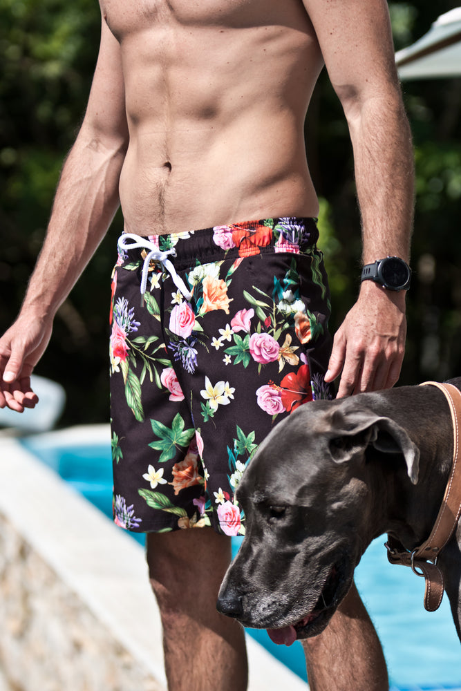 CA Hybrid Board Shorts | Floral (black)