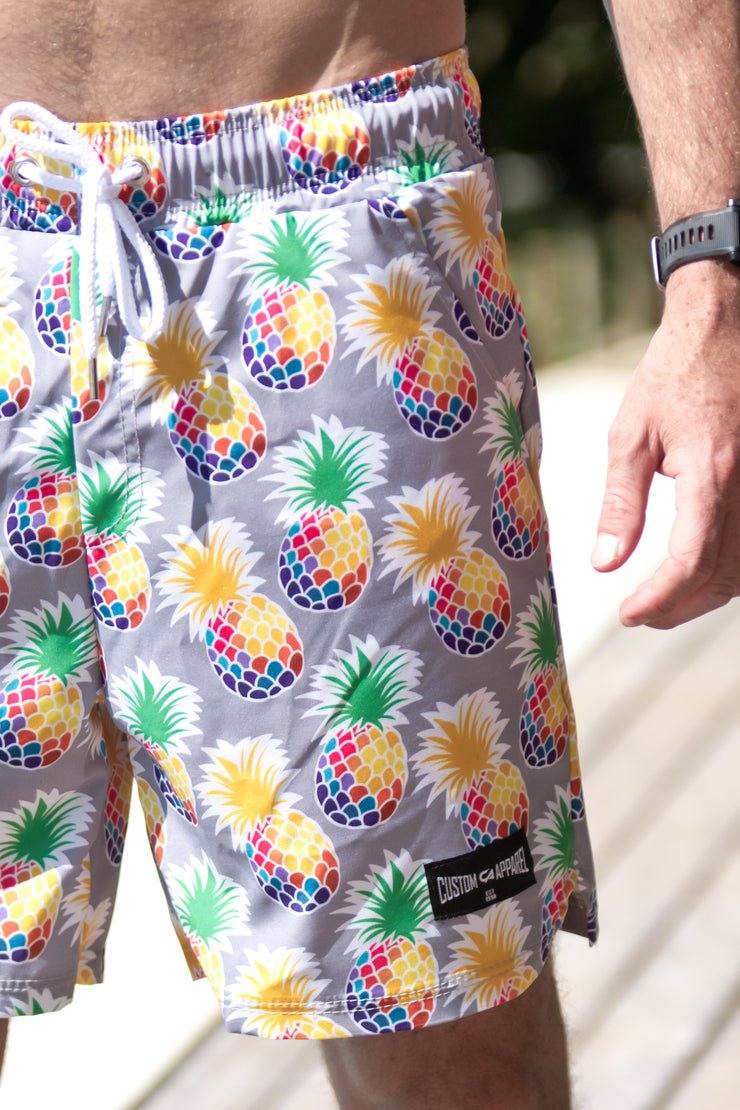 CA Hybrid Board Shorts | Pineapples (Grey)