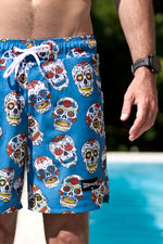 CA Hybrid Board Shorts | Sugar Skulls (Blue)