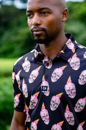 CA Funky Golf Shirt | Black Skullcreams