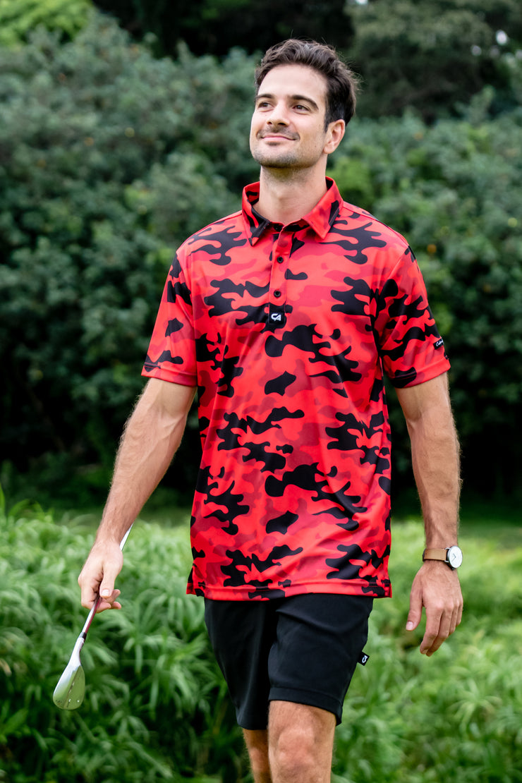 CA Funky Golf Shirt | Red Camo