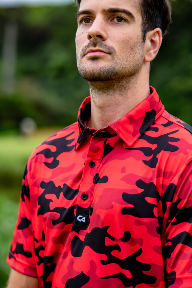 Funky Golf Shirt | Red Camo