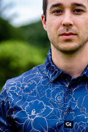 CA Funky Golf Shirt | Navy Gold Roses