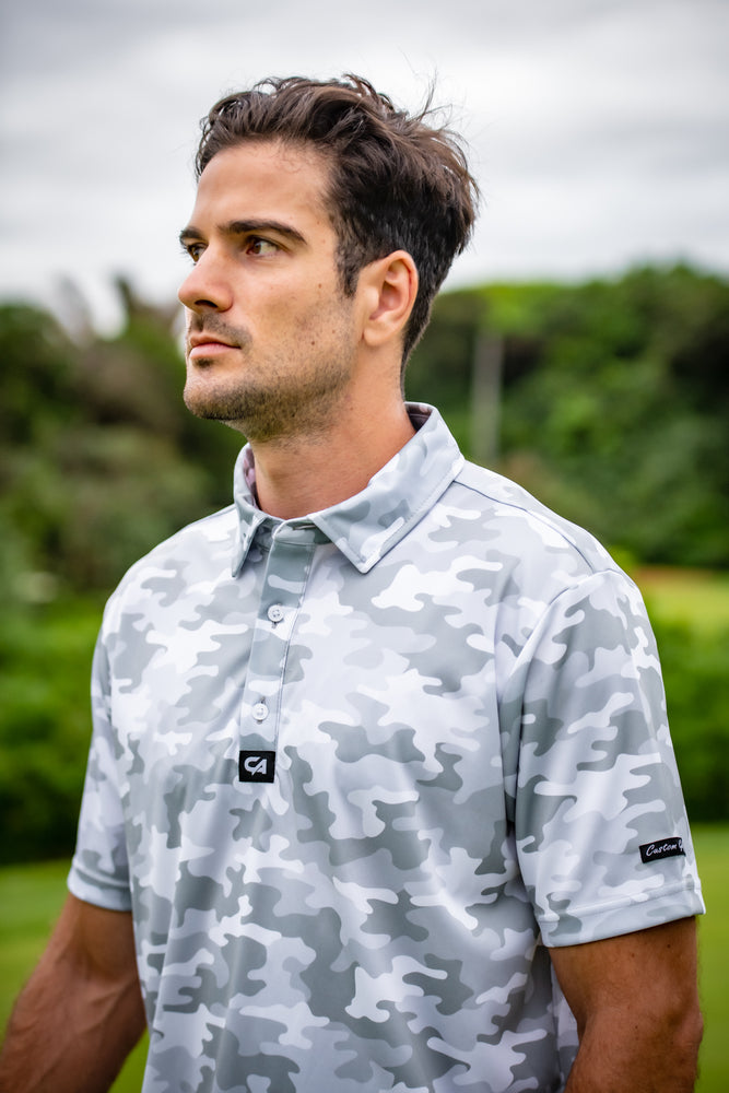 Funky Golf Shirt | White Camo