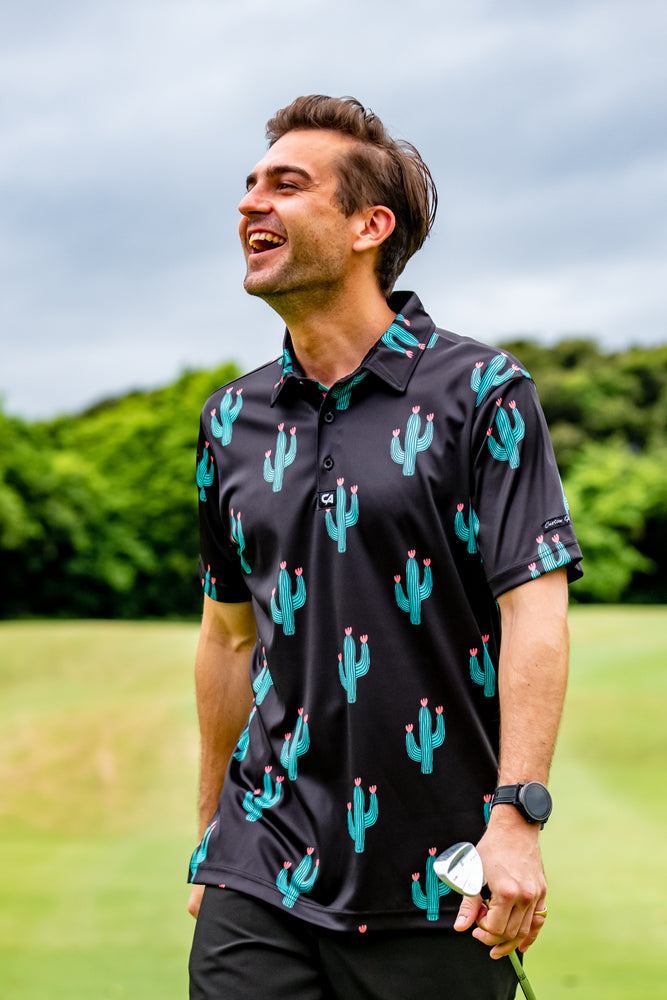 CA Funky Golf Shirt | Black Cactus
