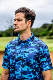 CA Funky Golf Shirt | Blue Camo