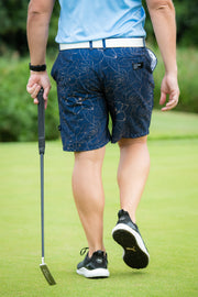CA Funky Golf Shorts | Navy/Gold Roses