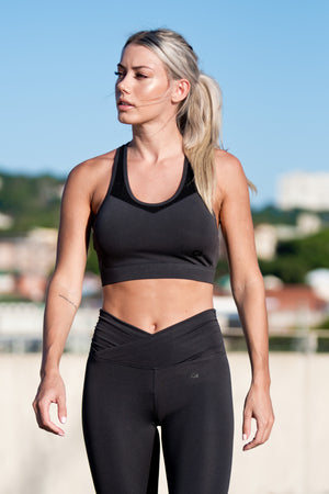 CA 'Meshed' Sports Bra | Charcoal