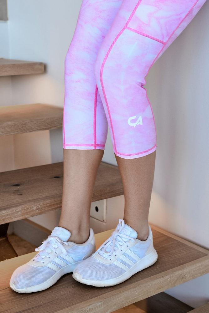 CA Marble 3/4 Tights | Pink