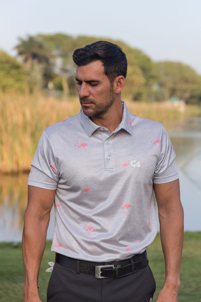 CA Flamingo Golf Shirt | Grey / Pink