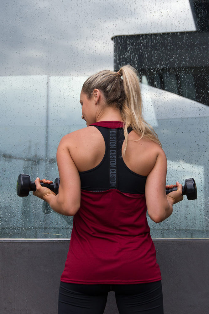 CA Ladies Gym Vest | Burgundy