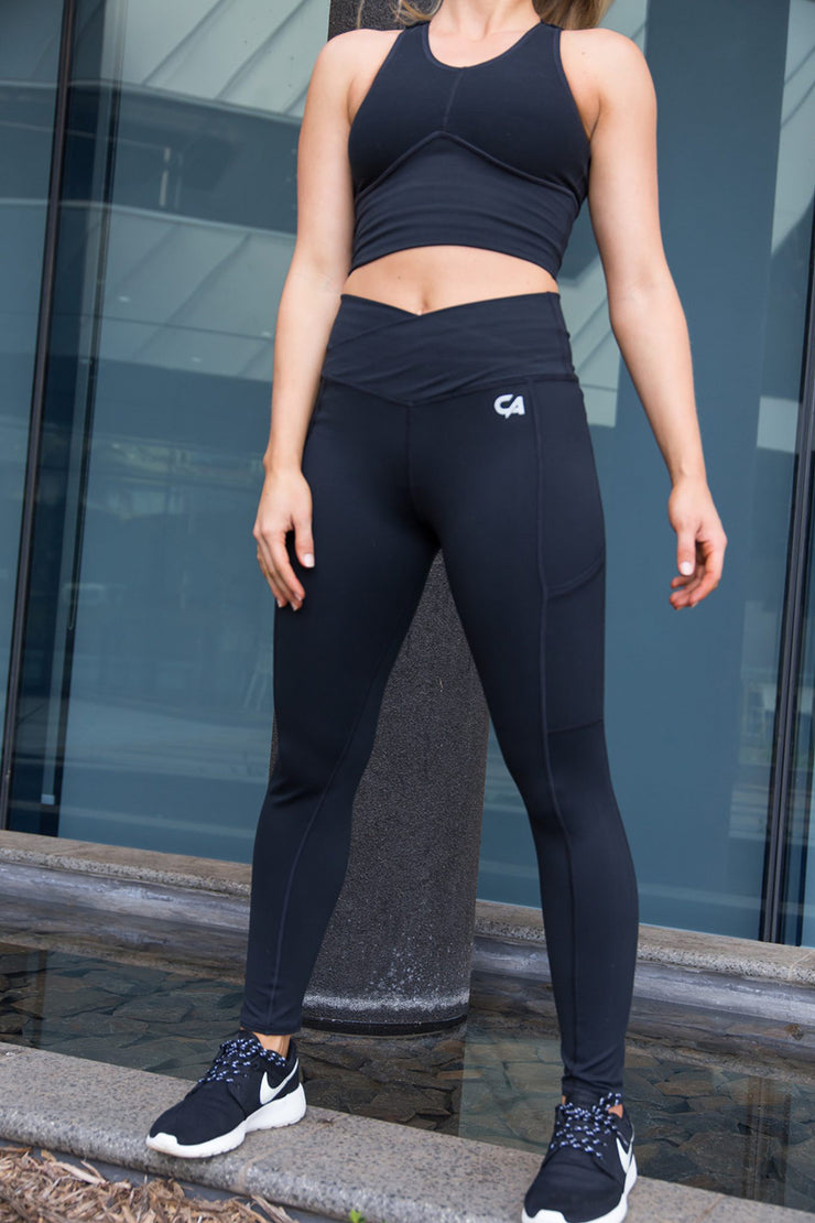 CA High-Waisted Platinum Tights | Black / Silver