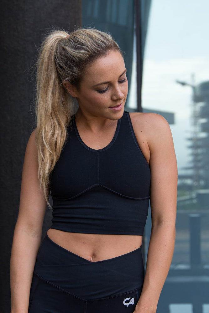 Strap-Over Compression Crop Top | Black