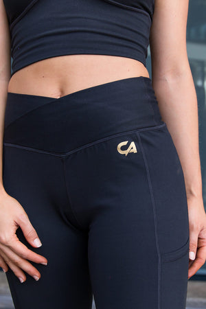 CA  High-Waisted Platinum Tights | Black / Gold