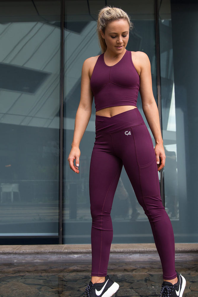 Strap-Over Compression Crop Top | Burgundy