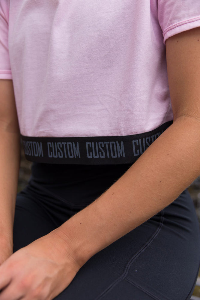 Custom Crop Top Tee | Baby Pink