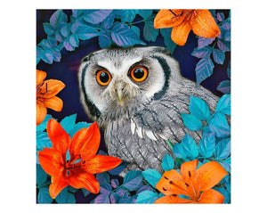 Diamond Painting - Owl and lilies