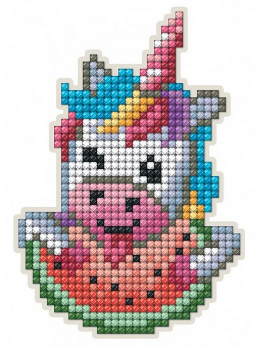 Diamond Painting Magnet Kit - Unicorn Eating Watermellon