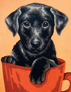 "Útsaumur - Cross-stitch Kit ""Black Lab in a Cup"""