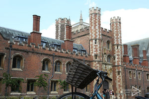 Bike in front of St Johns College Cambridge University UK