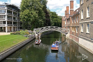 Mathematical Bridge and punting on the river in Cambridge UK