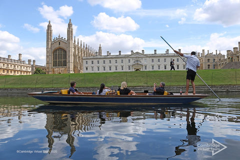 punting on the Cam at King's College Cambridge at University of Cambridge UK