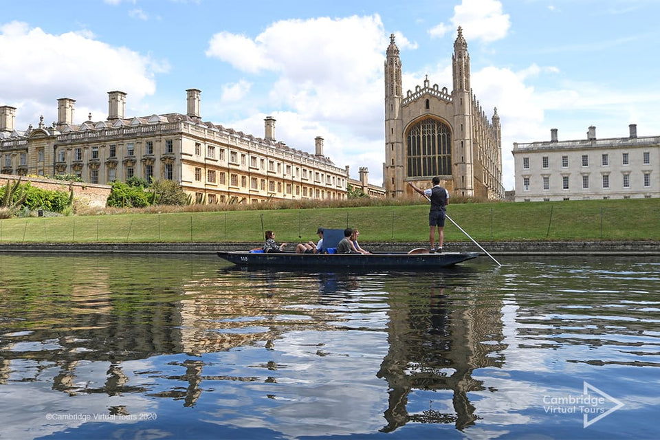 Punting on the river in Cambridge at Kings College Cambridge University UK