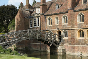 view of Mathematical Bridge while punting on the river in Cambridge UK
