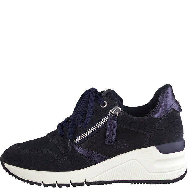 Tamaris Ladies Trainers Lace Up Zip Chunky Sneaker Navy Combination Wedge Heel Leather
