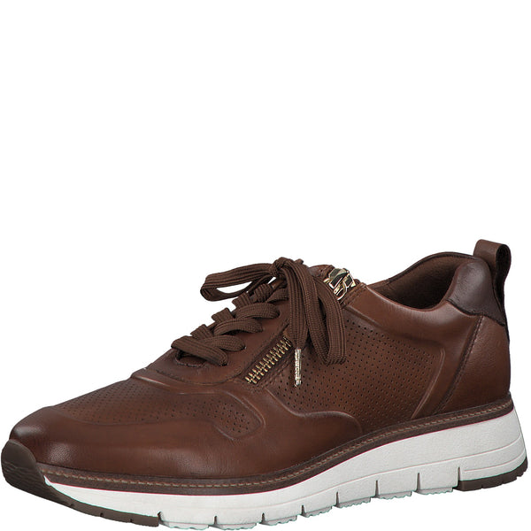 Tamaris Ladies Trainers Lace Up Zip Chunky Sneaker Tan Leather - 53 Main Street