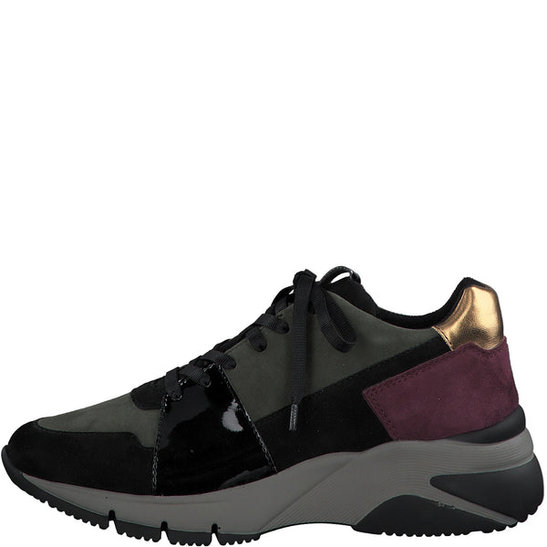Tamaris Ladies Trainers Lace Up Zip Chunky Sneaker Greenlack/Bordo Gold Wedge Heel Leather