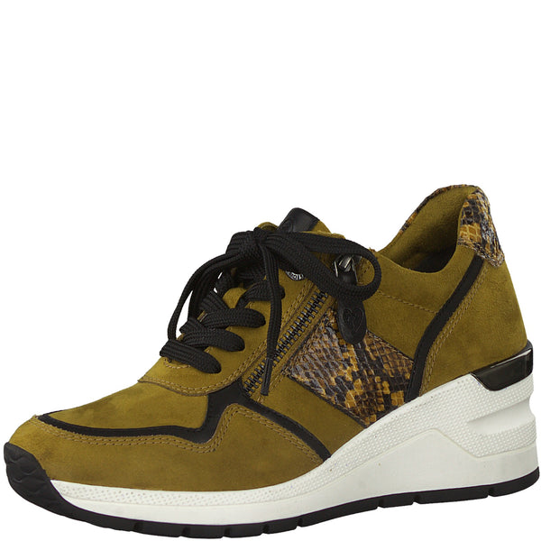 Marco Tozzi Ladies Sneakers Saffron Wedge Heel Trainer Zip Vegan - 53 Main Street