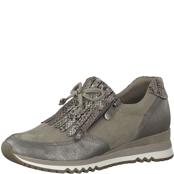 Marco Tozzi Ladies Slip On Sneakers Taupe Trainer Tassle