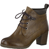 Ladies Marco Tozzi Boots Brown Heeled Boot Padded collar