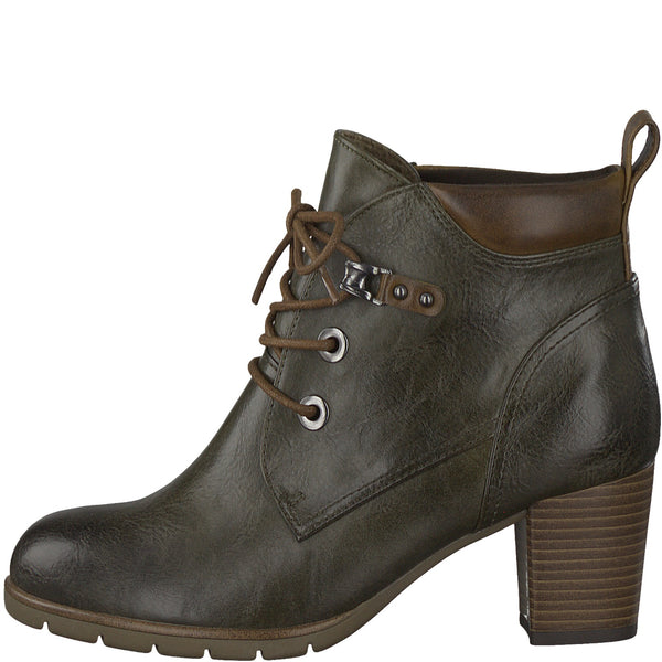Ladies Marco Tozzi Boots Green Heeled Boot Padded collar - 53 Main Street