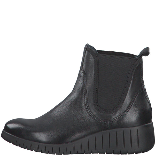 Marco Tozzi Boots Super Soft Black Leather Chunky Wedge Chelsea Boot Pull On Style