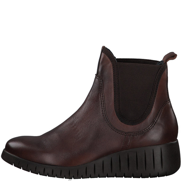Marco Tozzi Boots Super Soft Brown Leather Chunky Wedge Chelsea Boot Pull On Style - 53 Main Street