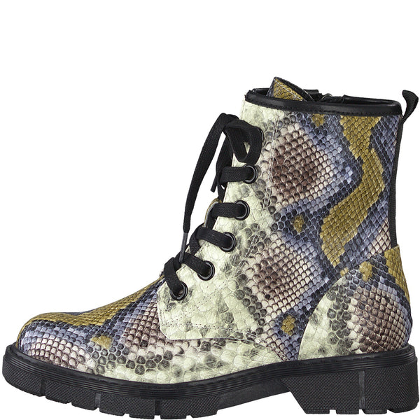 Marco Tozzi Boots Multi Snake Print Chunky Military Style
