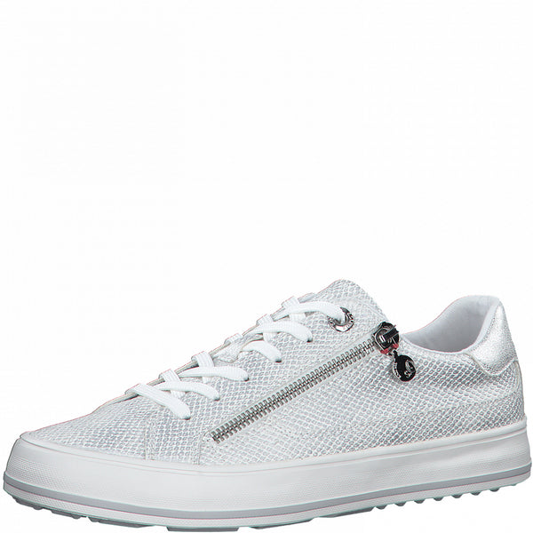 S Oliver Ladies  Trainer Silver Snake Laced 5-23615-948