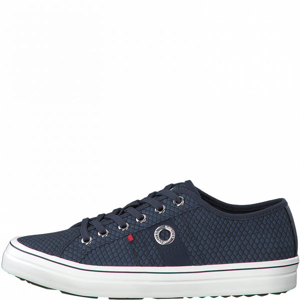 S Oliver Ladies Trainer Navy Snake Laced 5-23640-863