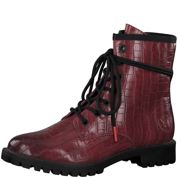 Ladies S.Oliver  Boots Red Croc Print Chunky Military Style