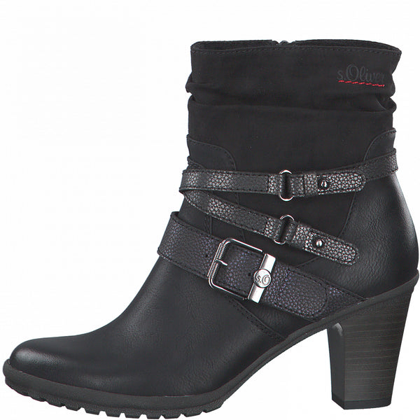 Ladies S.Oliver Boots Black Heeled Boot Layered Straps Buckle