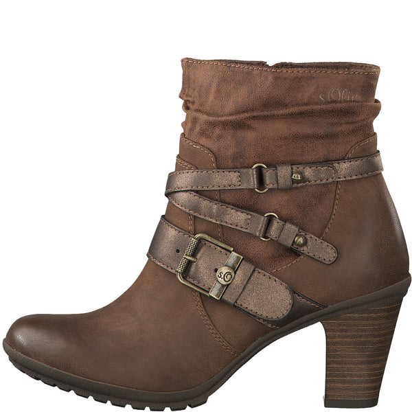 Ladies S.Oliver Boots Tan Heeled Boot Layered Straps Buckle - 53 Main Street