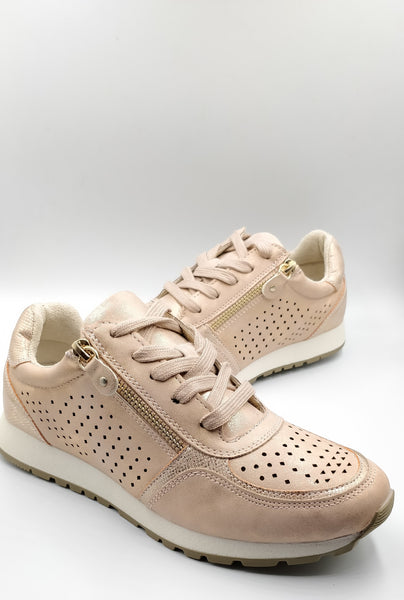 Rose Gold Trainer Cipriata Soft Laced Comfort Spring - 53 Main Street