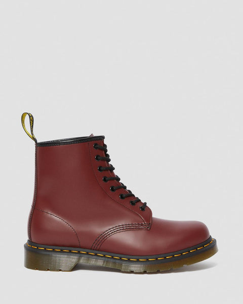 Dr Martens DMs Docs 1460 Cherry Red Smooth LEATHER ANKLE BOOTS Ladies Mens - 53 Main Street