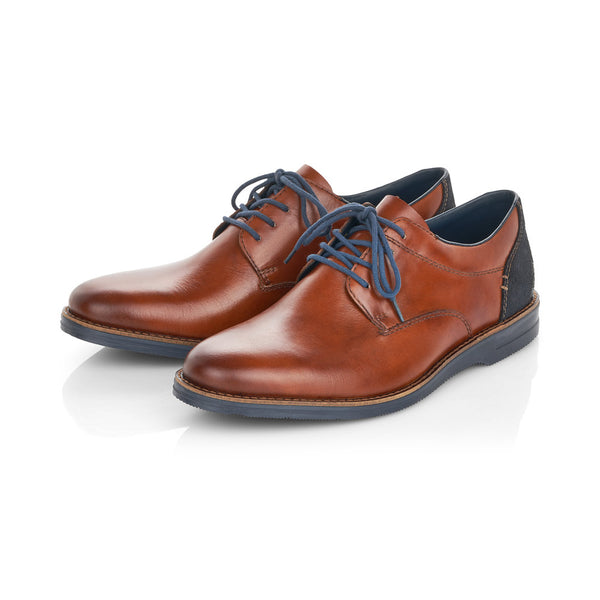 Rieker Mens Shoes Leather Smart Brogues Wide Fit Shoes Laced Mid Brown Tan - 53 Main Street