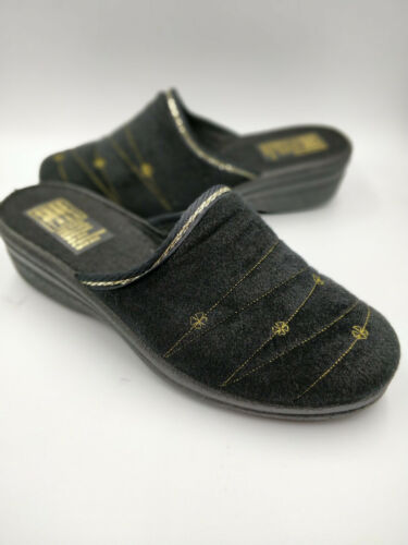 Ladies Bedroom Slippers Mule Wedge Heel Slip On Black Sizes 3,4,5,6,7,8 Comfort - 53 Main Street