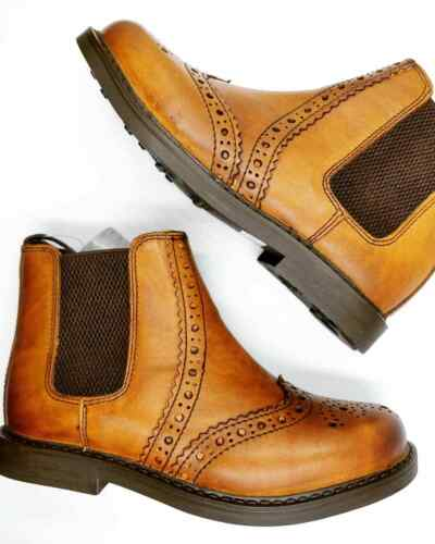 Boys Tan Chelsea Boots Dealer Brogues Ankle Kids Boots Size UK 9 to 5 Mid Brown - 53 Main Street