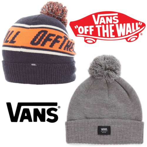 Vans Beanie Hat Off The Wall Pom One Size Dress Blues Heather Orange Slouch New - 53 Main Street