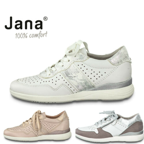 Ladies Lace Up Trainers Jana Leather Wide Fit Shoes Comfort Pumps White Rose - 53 Main Street